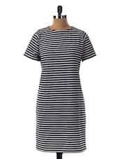 Monochrome Stripes Round Neck Shift Dress - Miss Chase