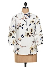 Flower -Leaf Print Crepe Shirt - Estellin