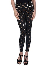Gold Dots Sexy Black Leggings - By