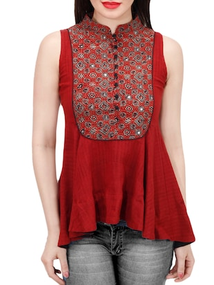 red khadi top