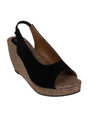 9SPACE black Fabric wedges  -  online shopping for wedges