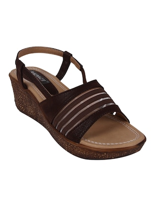 9SPACE brown Fabric wedges