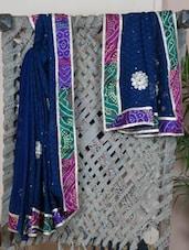Bandhej Bordered Gota Patti Saree - Bandhni
