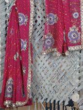 Heavily Embroidered Lehariya Georgette Saree - Lazza