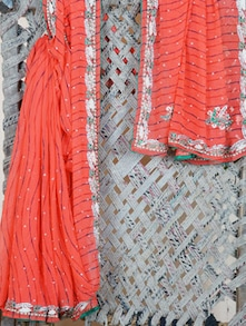 Embroidered Border Lehariya Georgette Saree - Lazza