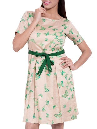 biege, green cotton assymetric dress