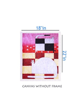 Canvas 2 Cat painting without frame + Silver plated Rs.1000 replica note