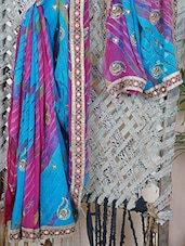 Pink And Blue Embroidered Georgette Saree - Bandhni