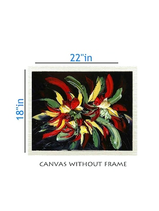 Canvas Multi Color  painting without frame + Silver plated Rs.1000 replica note