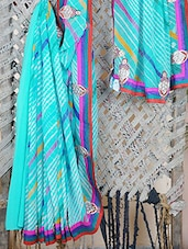Georgette Patch Work Leheriya Saree - Bandhni