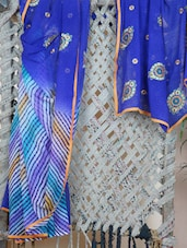 Half & Half Embroidered Leheriya Saree - Libaaz