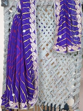 Paisley Embroidered Georgette Saree - Libaaz