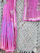 Crepe & Net Leharia Embroidered Saree - Libaaz