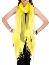 Yellow Tissue Plain  Dupatta - By