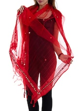 Red Tissue Plain  Dupatta - By