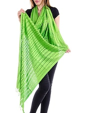 Green Staple Cotton Plain  Dupatta - By