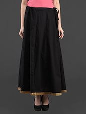 Golden Border Black Long Flared Skirt - Bhama Couture
