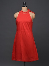 Red Halter Neck Cotton Dress - Bhama Couture