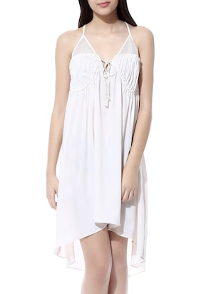 ivory high-low gathered dress