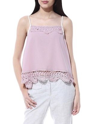 dirty pink crochet cami top