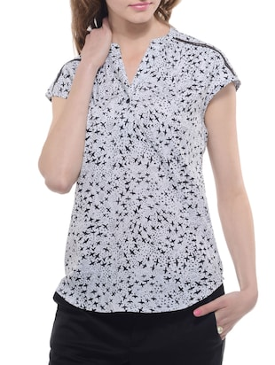 A Luv Ya  Crepe Bird Print Top