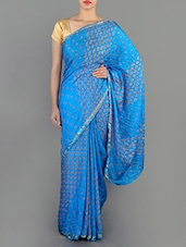 Sky Blue Bandhej Silk Saree - MEENAKSHI SAREE
