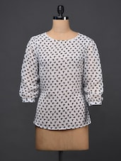 Quarter Sleeves Monochrome Print Georgette Top - NEE