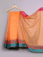 Orange Paisley Woven Bordered Cotton Silk Saree - WEAVING ROOTS