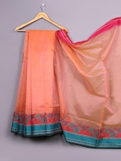 Peachy Orange Paisley  Bordered Cotton Silk Saree - WEAVING ROOTS