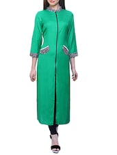 Green Rayon Long  Kurta - By