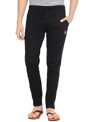 black cotton blend track pant