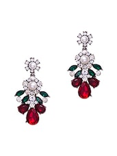 Multi Colour Stones , Crystal & Pearl Embellished Earrings - Jewelz