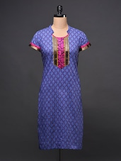 Printed Kurti With Woven Boarder On Neck - Free Living