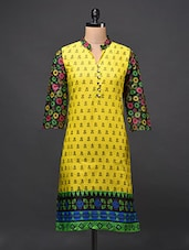 Cotton Printed Kurti With Floral Sleeves - Free Living