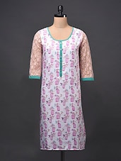 Lace Sleeve Printed Cotton Kurti - Free Living