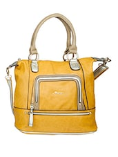 Mustard Zipper Detail Contrast Handle Handbag - Alonzo