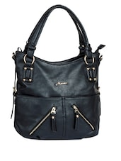 Spacious Zipper Detail Black Handbag - Alonzo