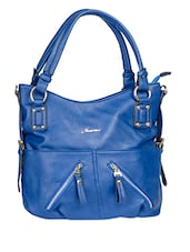 Spacious Zipper Detail Blue Handbag - Alonzo