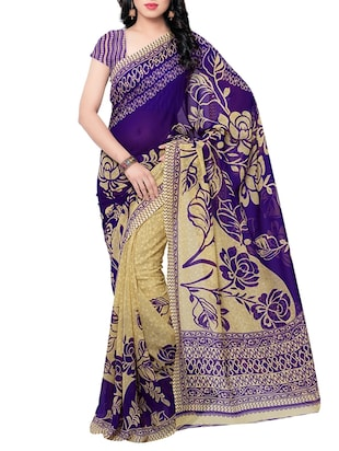 purple, beige faux georgette saree