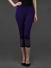 Blue Plain Solid Polyester Short Leggings - Dashy Club