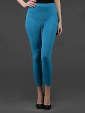 Blue Plain Solid Polyester Long Leggings - Dashy Club