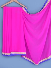 Pink Bordered Chiffon Saree - INDI WARDROBE