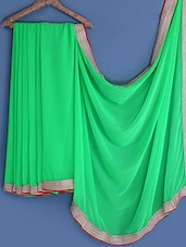 Green Gota Bordered Chiffon Saree - INDI WARDROBE