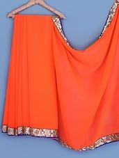 Orange Bordered Chiffon Saree - INDI WARDROBE