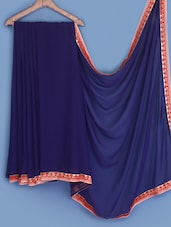Navy- Blue Bordered Chiffon Saree - INDI WARDROBE