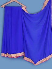 Royal Blue Bordered Chiffon Saree - INDI WARDROBE