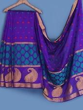Purple Woven Silk Saree - INDI WARDROBE