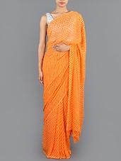 Orange Leheriya Chiffon Saree - Saree Street