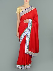 Red Embroidered Border Georgette  Saree - Saree Street