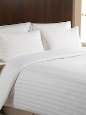 Self Striped White Double Bedsheet Set - Valtellina
